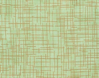 Kaufman Quilter's Linen Metallic 14476 44 Forest Stitching by the yard
