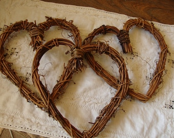 Grapevine hearts twig embellishments Rustic wedding large twig hearts wedding craft supplies rustic natural home decor