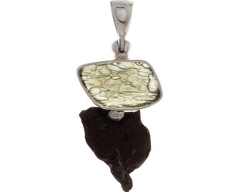 Sikhote-Alin Meteorite and Moldavite Pendant on a Sterling Silver Bail, One of a Kind Pendant, Statement Jewelry,