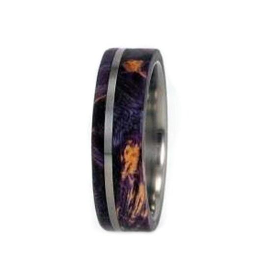 Purple Box Elder Burl Wood Ring-Womens Wedding By