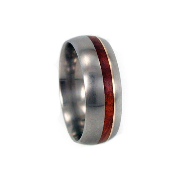 Mens Titanium Wedding Band With an Amboyna Burl and 14k Yellow Gold Pinstripe, Wooden Ring
