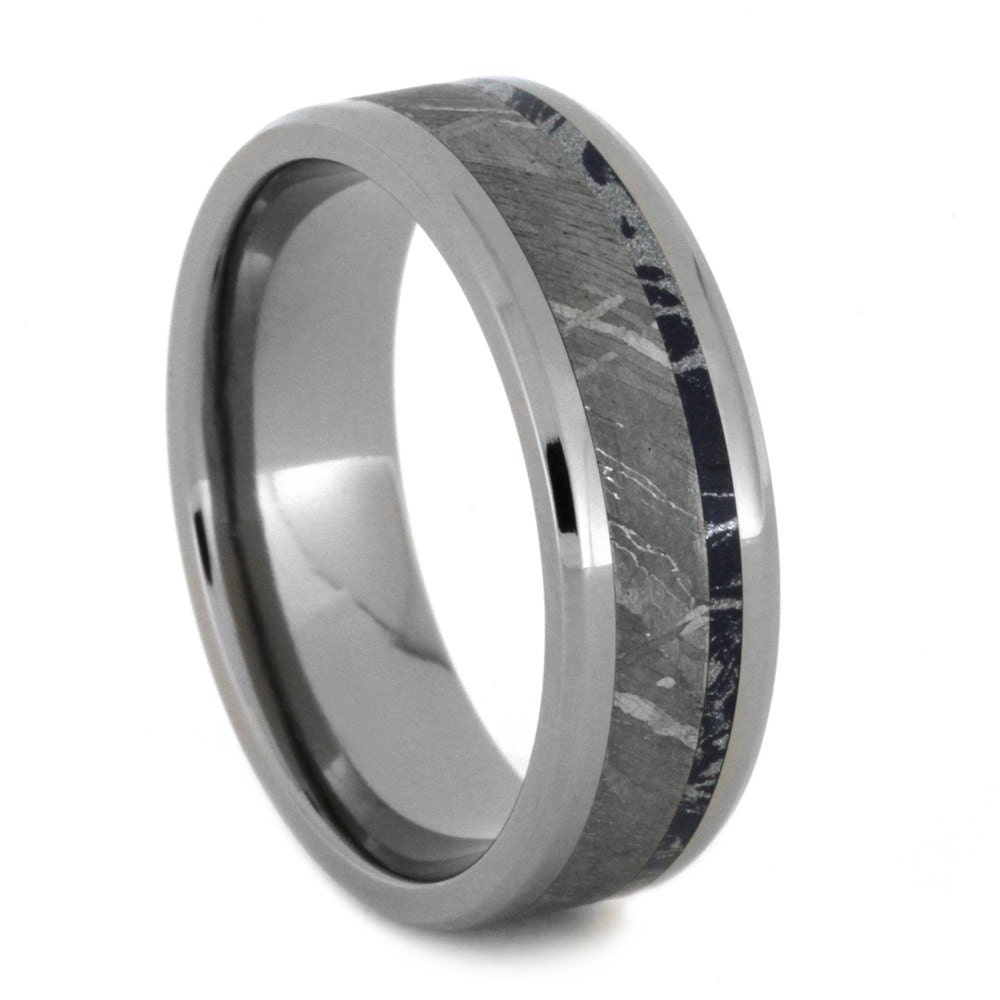 custom mens titanium wedding band with blue by jewelrybyjohan