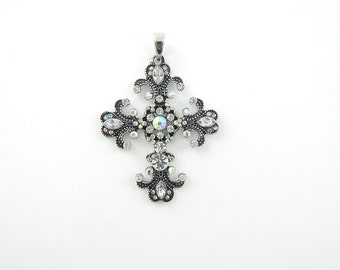 Decorative Cross Pendant Antique Silver-tone Rhinestones