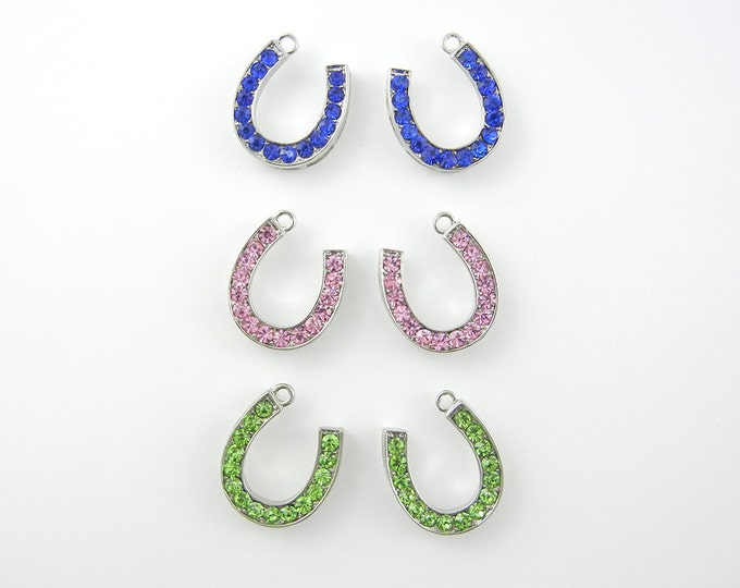 Pair of Rhinestone Horseshoe Charms–Choose Your Color