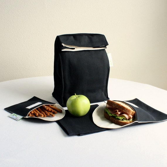 Lunch Bag Set, Black - Insulated, Organic Cotton, Eco Friendly - 4 Piece - Back to School
