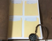 Custom Leather Guest Book with Library Cards and Compass Closure