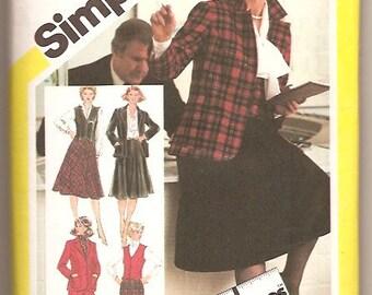 Simplicity 5245 Vintage 80s Plus Size 22.5 Pants Skirt Vest Jacket Sewing Pattern UNCUT