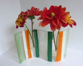 Fused Glass Wave Pocket Vase in Green, Orange, White and Clear by BPRDesigns