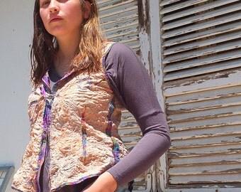 Zen Tangled - Artistic Threadpainted Waistcoat - made by Kathrin Kneidl for resplendent Rags