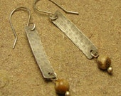 Sterling Silver Long Hammered Long Rectangle Earrings w/ Picture Jasper Drop