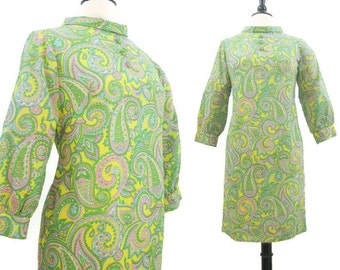 Vintage 60s Dress Psychedelic Paisley Print Mini Roll Collar Mod S - M