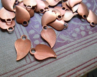 13 pc copper corrugated leaf charms vintage 1970s old new stock jewelry supplies