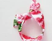Watermelon Head Scarf / Hair Accessory / Neck Scarf / Handbag Adornment / Rockabilly Scarf / Gift Under 15 / Red White Green Black Scarf