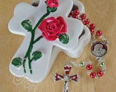 Rosary Christmas Red and Green Enameled Rhodium Plated