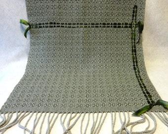 Handwoven Lace Shawl - Summer Shawl - Sage Green Shawl - Wedding Shawl, Wedding Stole, Summer Stole, Handwoven Rayon Shawl #15-13A w/ribbon