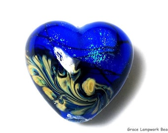 NEW! Handmade Glass Lampwork Bead - 11836405 Sapphire Sea Shimmer Heart