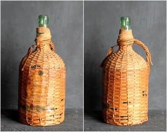 Vintage Bacardi Wine Bottle, Wicker Wrapped Demi John Green Bottle Demijohn Carboy