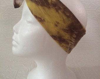 Silk tie dye handkerchief or scarf in white, lemon yellow and brown