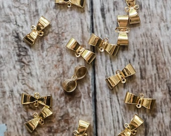 Gold Plated Bow Connector Ribbon Charm