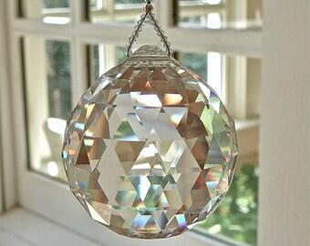 "Swarovski 60mm Ball, Enormous Swarovski Crystal Ball Suncatcher, Window Hanger, Produces Beautiful Rainbows - ""SIMPLICITY TRENTA"""