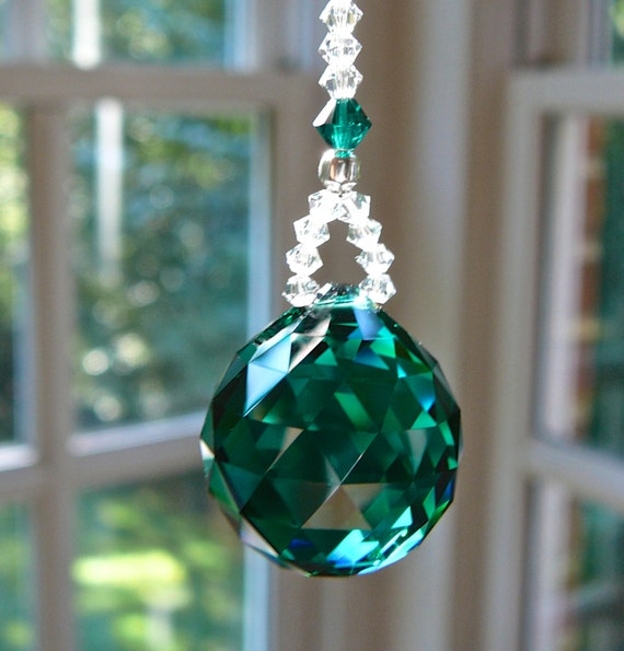 """Swarovski Crystal Ball Suncatcher, 20mm Ball, Rainbow Maker, Comes in 14 Colors, 2 Lengths, For Rearview Mirror or Home,""""LITTLE SIMPLICITY"""""""