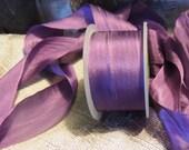 """Purple wide silk ribbon 1 1/4"""" wide one yard"""