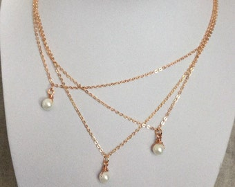 Layered Rose Gold and Pearl Necklace