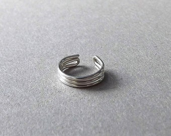 Earcuff Silver Ear Cuff Triple Band No Pierce Simple Wrap Earring eco friendly Single Minimalist Jewelry