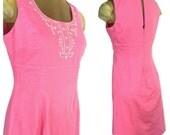 Pink Sleeveless Dress, Embroidered Pink Sundress, White Embroidery, Pink Sheath Dress, Zip up back Fully Lined Dress, Boho style Vintage 90s