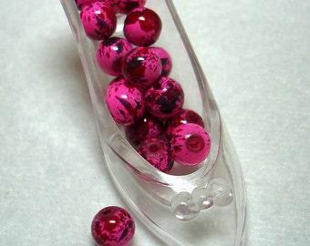 Pink Red Splashed Glass Round Beads (Qty 16) - B2871