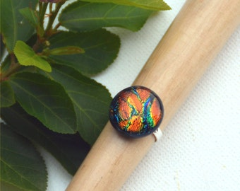 059 Fused dichroic glass ring, adjustable, silver plated, round, sparkling, green, orange, blue, yellow