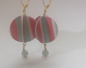 Aqua Coral White Round Paper Earrings with White Beads Gold Toned by hipknitta