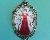 3-Day Sale 30% Off // Frida Kahlo Necklace, pendant on chain // Coupon Code SALE30