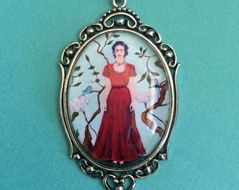 Sale 30% Off // Frida Kahlo Necklace, pendant on chain // Coupon Code SALE30