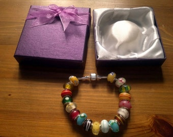 Stunning Bright Summer Colours charm bracelet. Snake Chain with snap closure. Gift boxed.