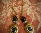 Timeless Beauty-Antique Victorian Glass Cameo Assemblage Earrings