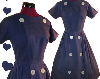 Vintage 50s Dress Blue Buttons Full Skirt Dress S M Rockabilly Day Party Swing Dance Pinup Short Sleeves