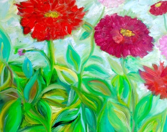 Zinnias, Original Oil Painting on Canvas