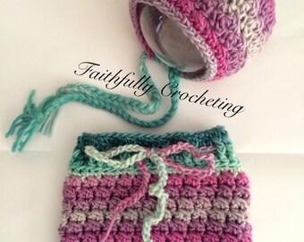 Newborn bonnet... Newborn skirt.. Photography prop.. Ready to ship