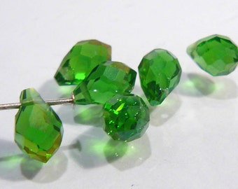 Green AB Glass Faceted Briolette Teardrop Beads.....8x6mm.....6 Beads