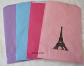 Paper Bags, Eiffel Tower, Paris Theme Party, Favor Bags, Gift Bags, Hand Stamped Bags, Paris France 6x9 Pack 20