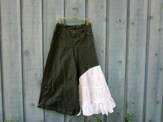 s m army green bohemian maxi cargo skirt upcycled