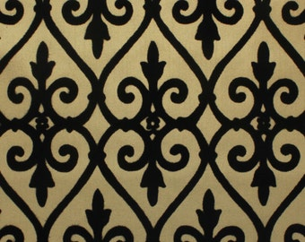 1970's Flocked Vintage Wallpaper Black Damask Gridiron on Gold