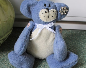 Blue/white fleece beanie teddie bear,plushie beanie teddie bear,room decoration,blue beanie teddy bear,blue teddy bear, blue teddy