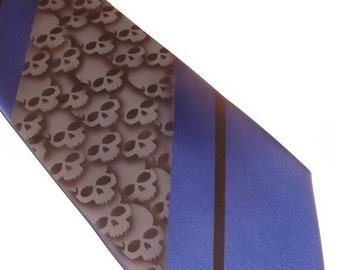 RokGear Custom Skull necktie mens extra long Royal Blue Black and Gray