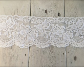 New -WHITE STRETCH LACE no. 6 -3  inch -2 yards for 4.19