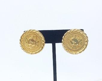 VTG Gold Tone St John Earrings // Clip On // Logo // Statement Earrings // Signed // Classic