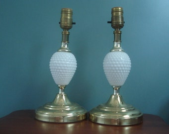 Handsome pair - hobnail lamps with metal bases