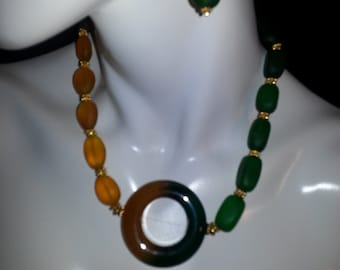 Green and Mustard Yellow Agate and Recycled Sea Glass Necklace Set
