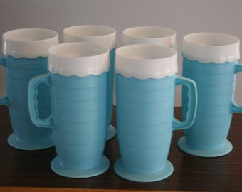 Vintage Aqua Plastic Patio Mugs Blisscraft of Hollywood Set of 6